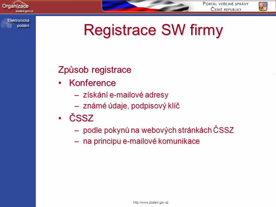 Registrace SW firmy Způsob registrace Konference ČSSZ