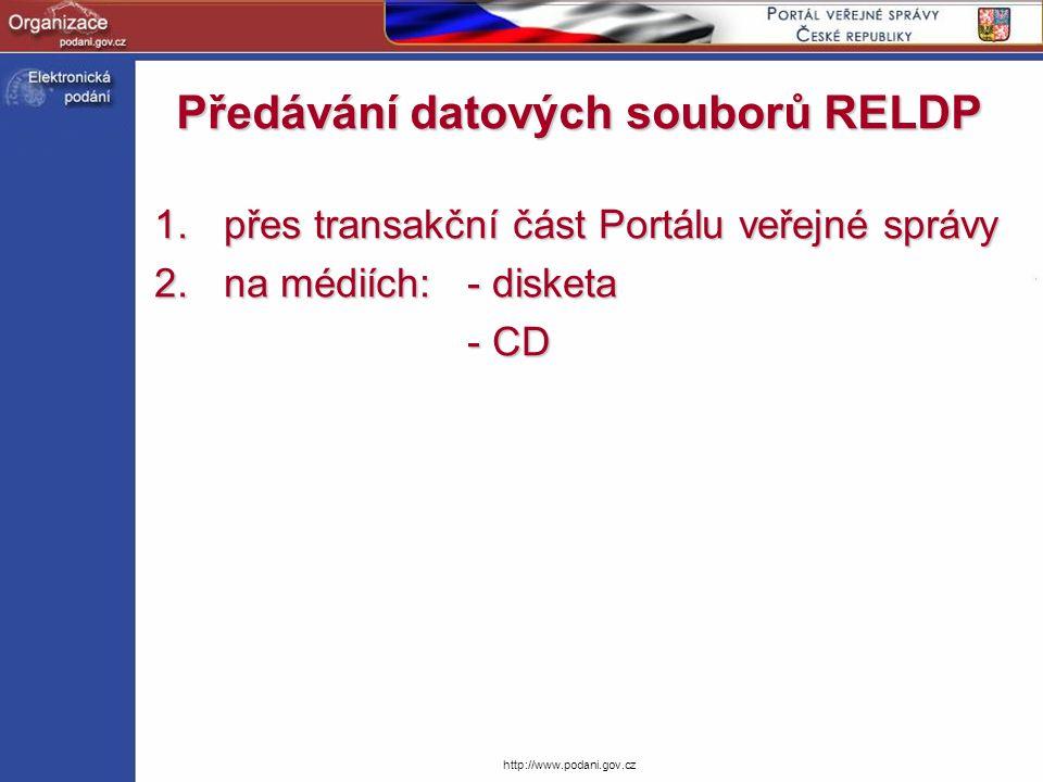 Předávání datových souborů RELDP