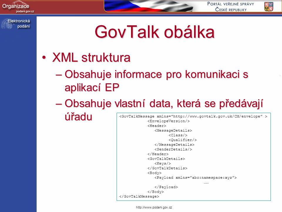 GovTalk obálka XML struktura