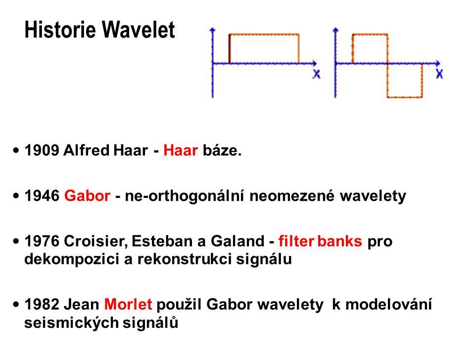 Historie Wavelet · 1909 Alfred Haar - Haar b áz e . · 1946 Gabor - ne