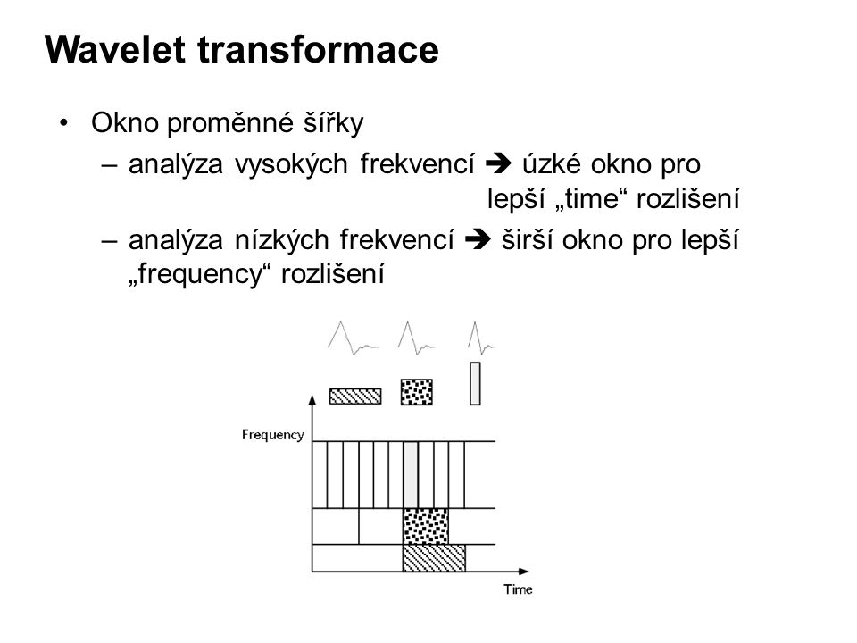 Wavelet transformace Okno proměnné šířky