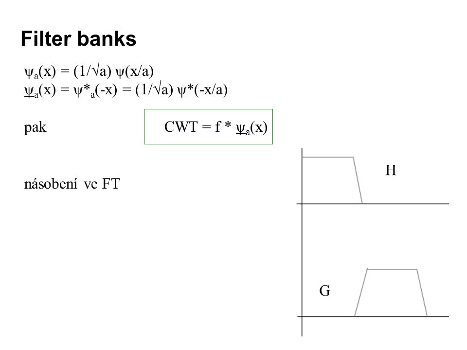 Filter banks ψa(x) = (1/√a) ψ(x/a) ψa(x) = ψ*a(-x) = (1/√a) ψ*(-x/a)