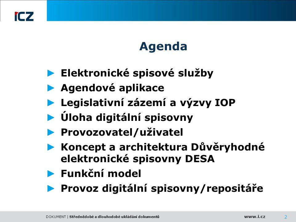 Agenda Elektronické spisové služby Agendové aplikace