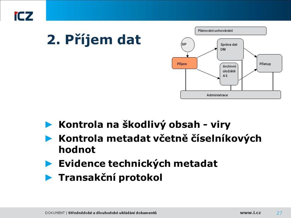2. Příjem dat Kontrola na škodlivý obsah - viry