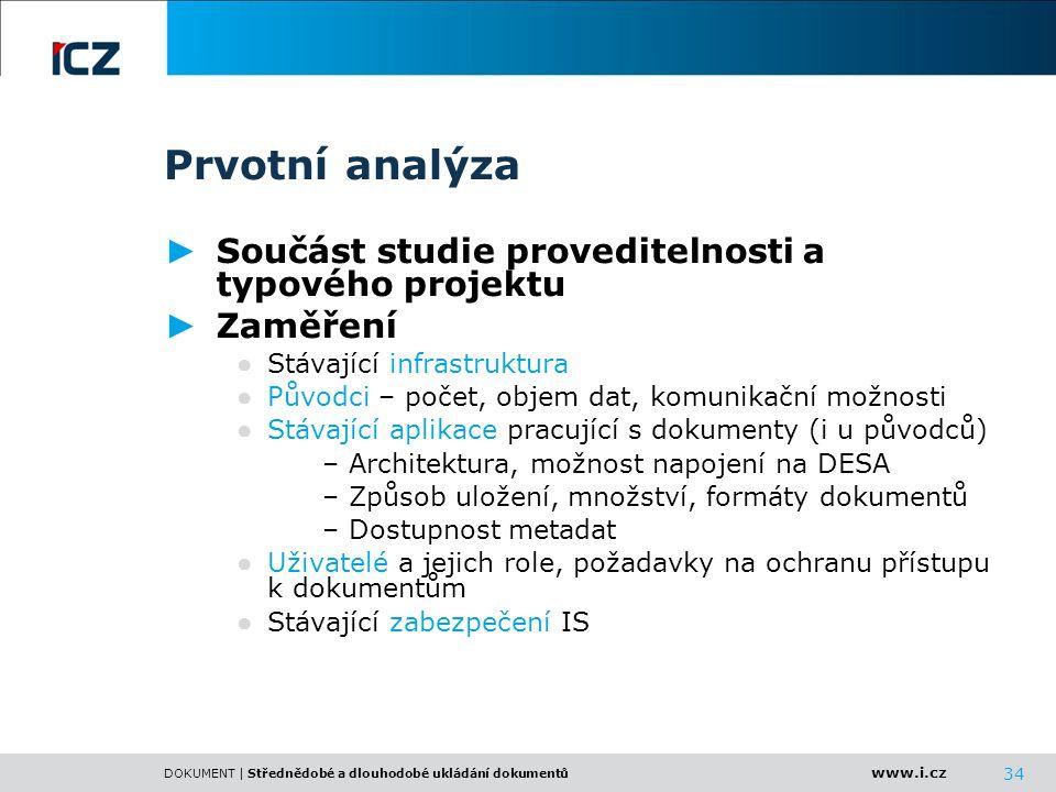 Prvotní analýza Součást studie proveditelnosti a typového projektu
