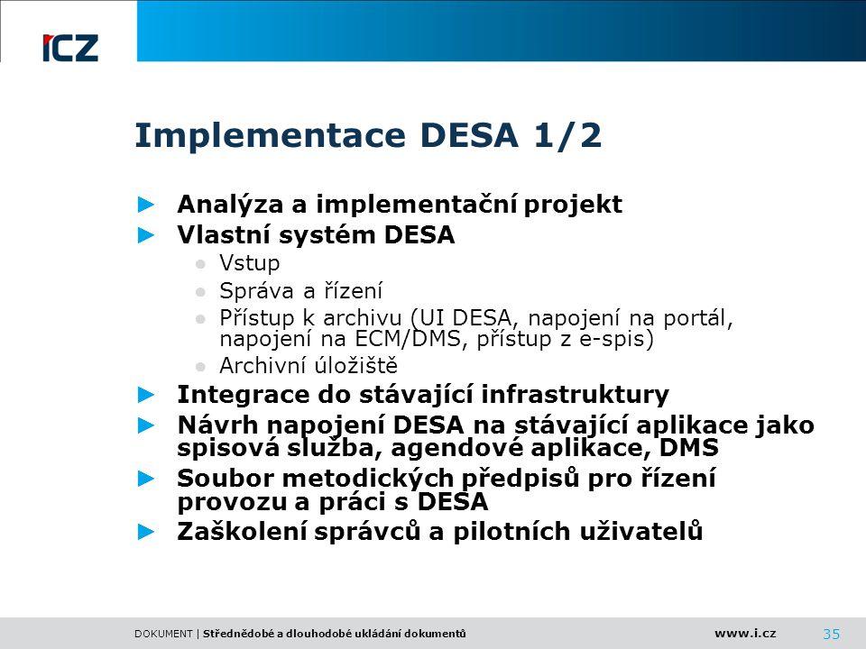 Implementace DESA 1/2 Analýza a implementační projekt