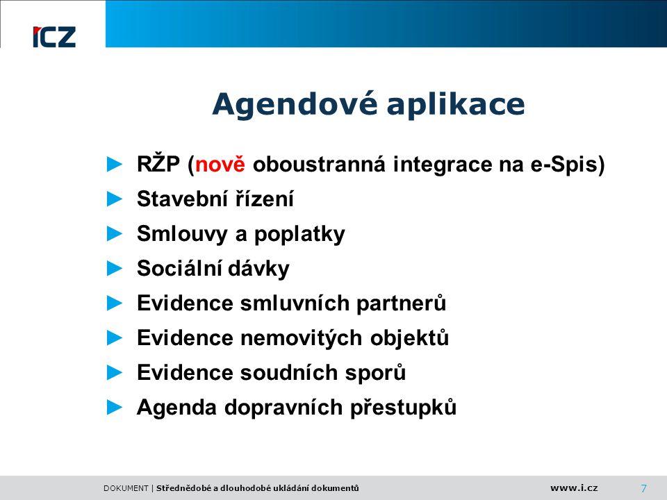 Agendové aplikace RŽP (nově oboustranná integrace na e-Spis)
