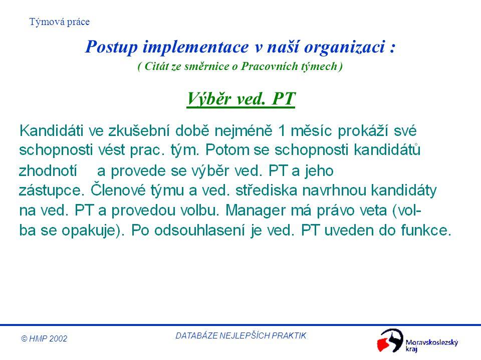 Postup implementace v naší organizaci : Výběr ved. PT