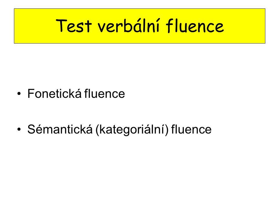 Test verbální fluence Fonetická fluence