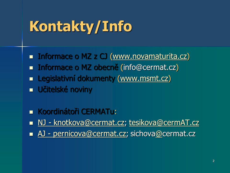 Kontakty/Info Informace o MZ z CJ (www.novamaturita.cz)