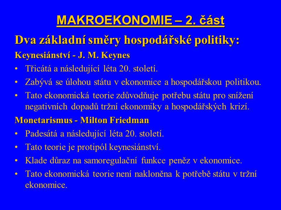 Dva základní směry hospodářské politiky: