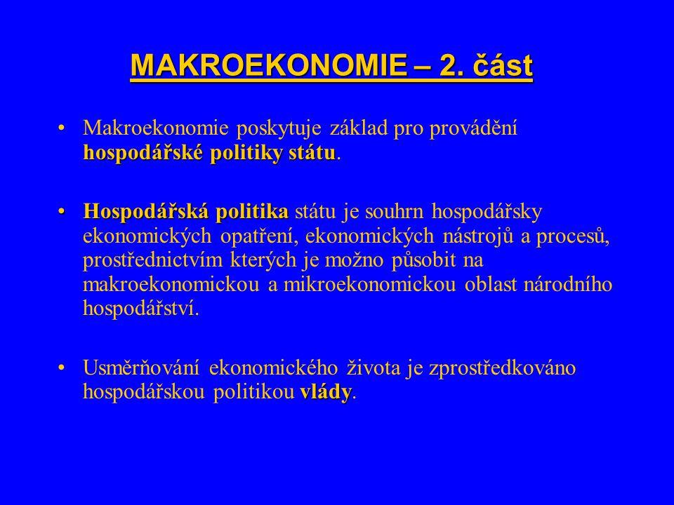 MAKROEKONOMIE – 2. část Makroekonomie poskytuje základ pro provádění hospodářské politiky státu.