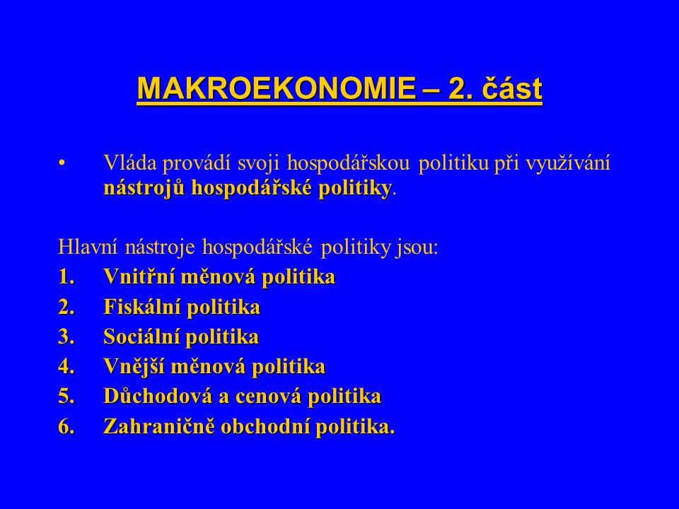 MAKROEKONOMIE – 2. část Vláda provádí svoji hospodářskou politiku při využívání nástrojů hospodářské politiky.