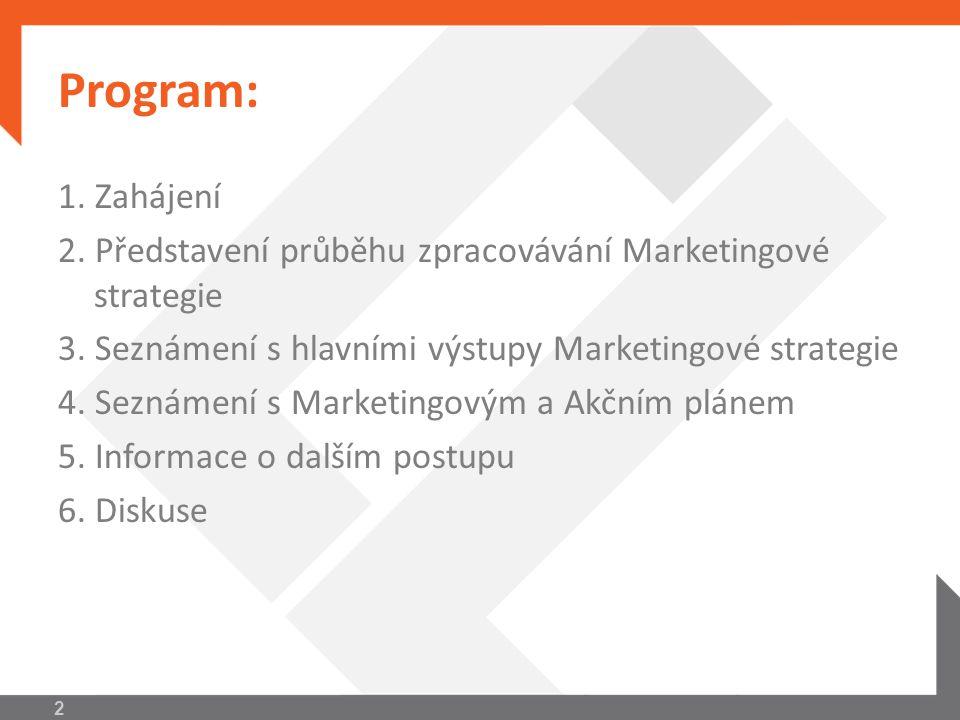 Program: 1. Zahájení. 2. Představení průběhu zpracovávání Marketingové strategie. 3. Seznámení s hlavními výstupy Marketingové strategie.