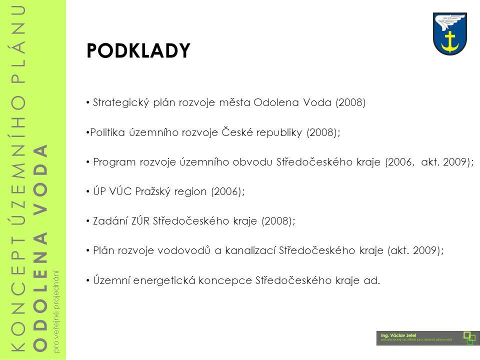 PODKLADY Strategický plán rozvoje města Odolena Voda (2008) Politika územního rozvoje České republiky (2008);