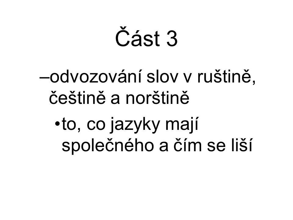 Část 3 odvozování slov v ruštině, češtině a norštině