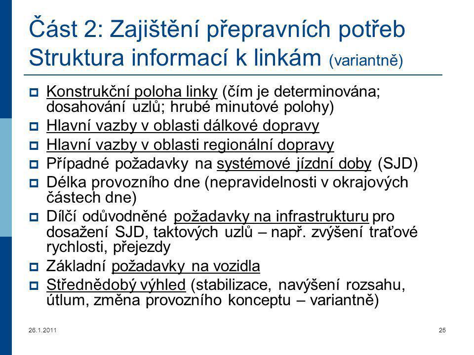 Část 2: Zajištění přepravních potřeb Struktura informací k linkám (variantně)