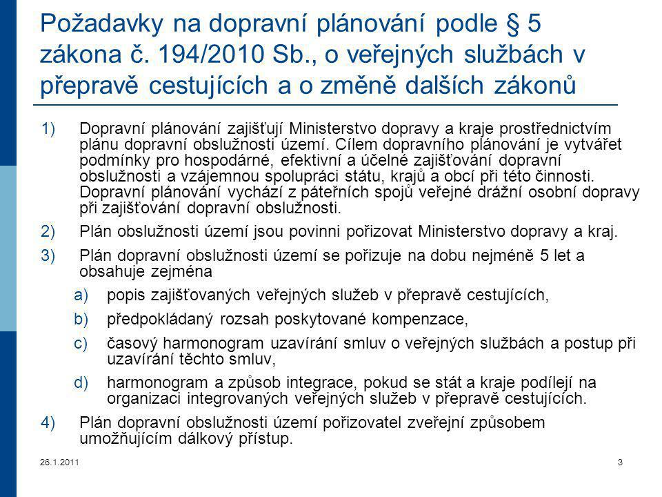 Požadavky na dopravní plánování podle § 5 zákona č. 194/2010 Sb