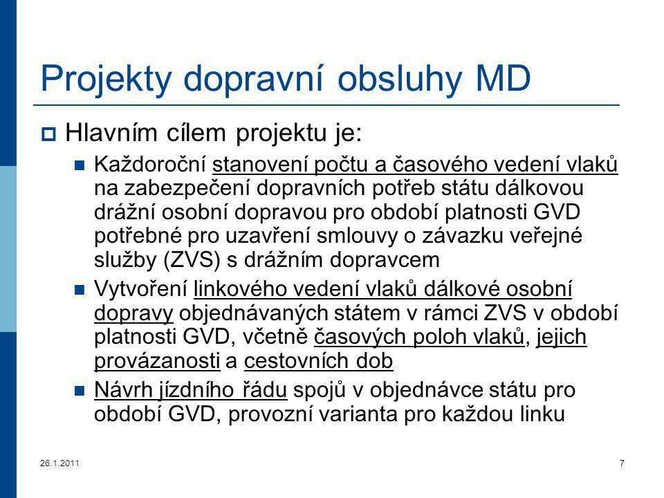 Projekty dopravní obsluhy MD