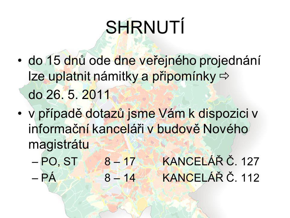 SHRNUTÍ do 15 dnů ode dne veřejného projednání lze uplatnit námitky a připomínky  do 26. 5. 2011.