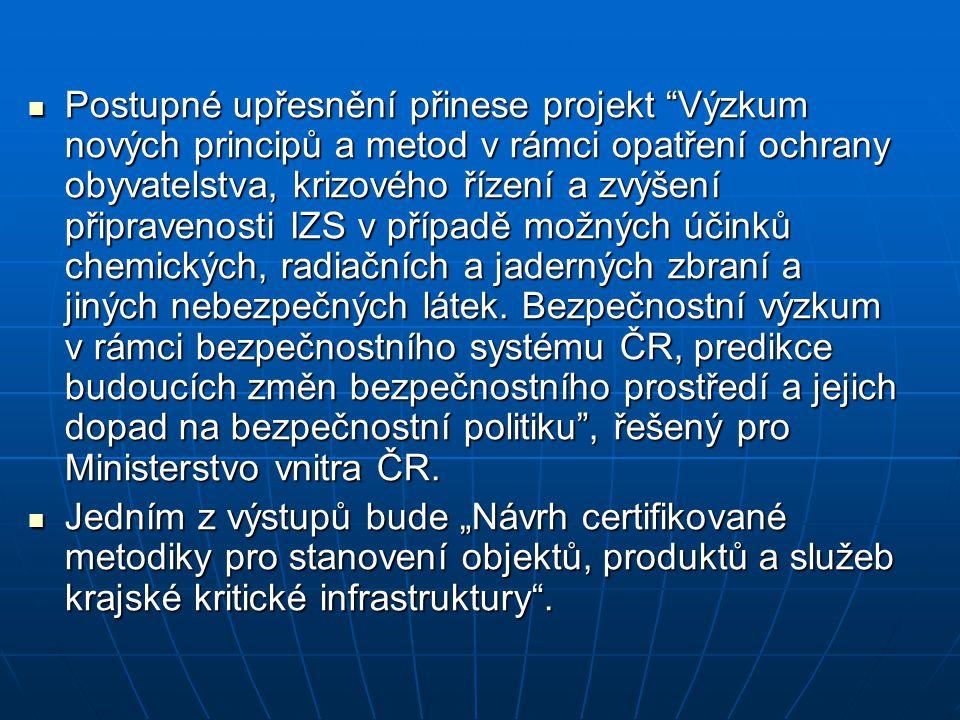 Postupné upřesnění přinese projekt Výzkum nových principů a metod v rámci opatření ochrany obyvatelstva, krizového řízení a zvýšení připravenosti IZS v případě možných účinků chemických, radiačních a jaderných zbraní a jiných nebezpečných látek. Bezpečnostní výzkum v rámci bezpečnostního systému ČR, predikce budoucích změn bezpečnostního prostředí a jejich dopad na bezpečnostní politiku , řešený pro Ministerstvo vnitra ČR.