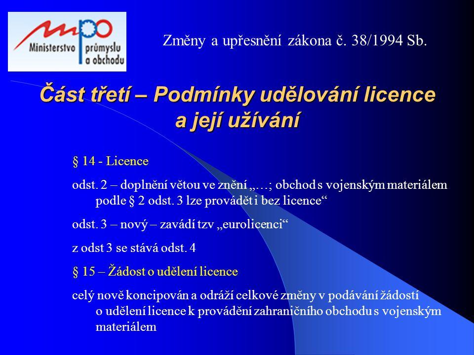 Část třetí – Podmínky udělování licence a její užívání
