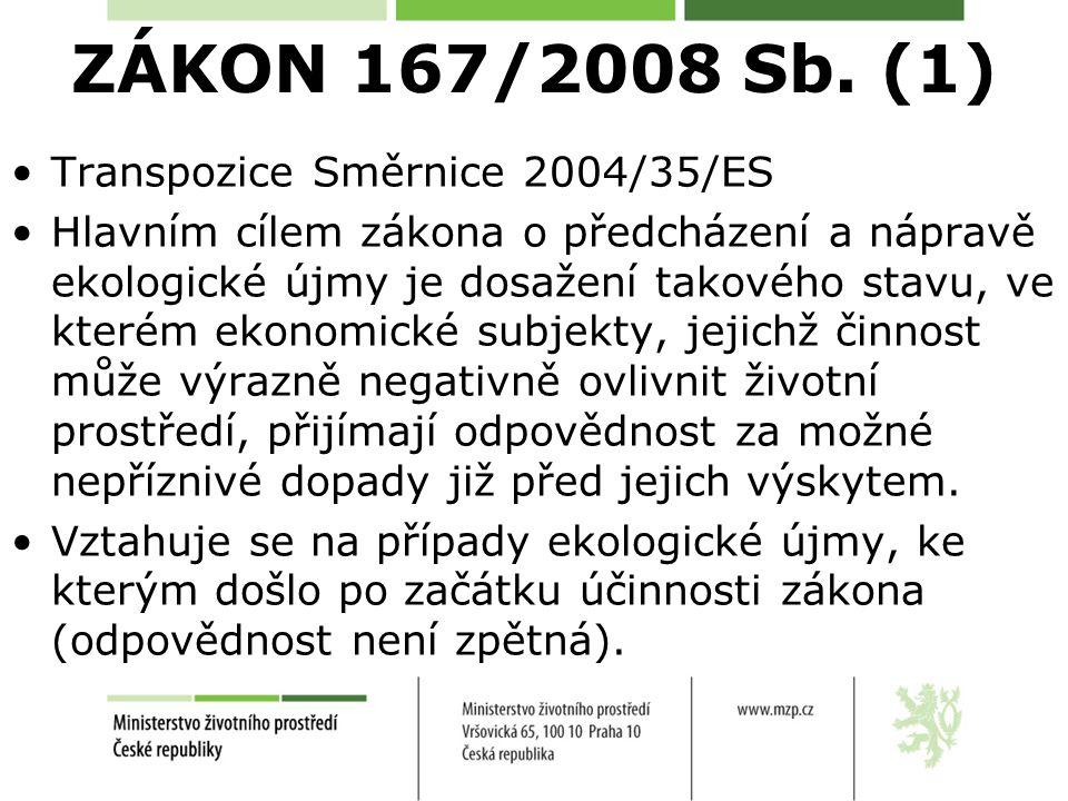 ZÁKON 167/2008 Sb. (1) Transpozice Směrnice 2004/35/ES