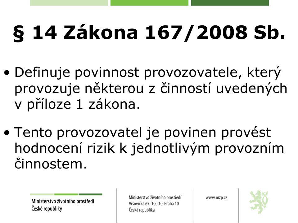 § 14 Zákona 167/2008 Sb. Definuje povinnost provozovatele, který provozuje některou z činností uvedených v příloze 1 zákona.