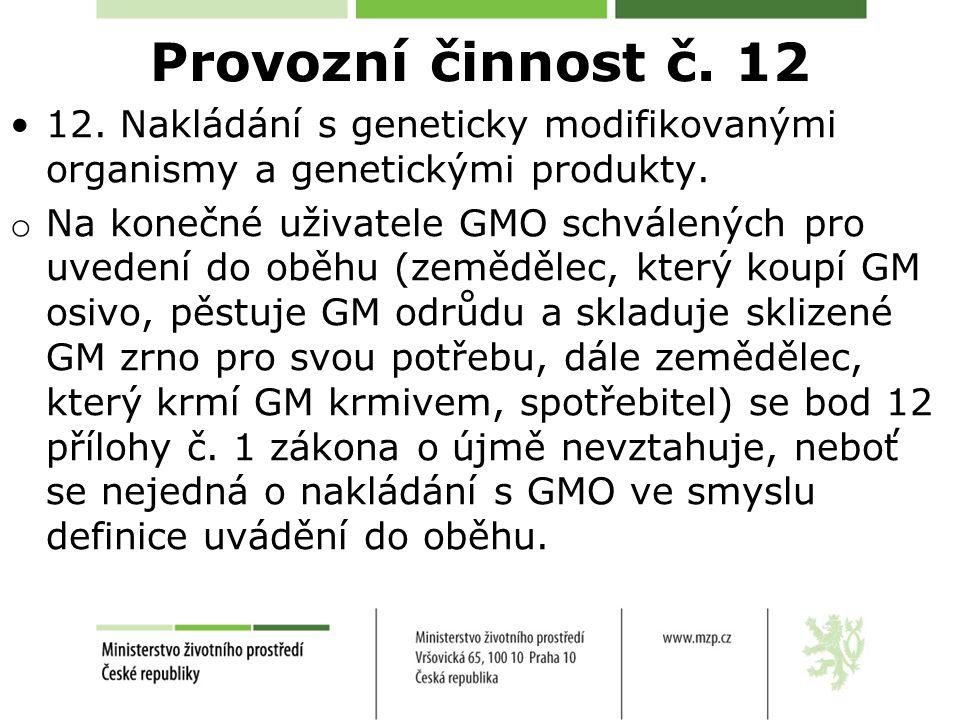 Provozní činnost č. 12 12. Nakládání s geneticky modifikovanými organismy a genetickými produkty.