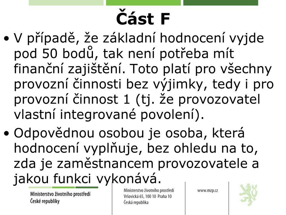Část F