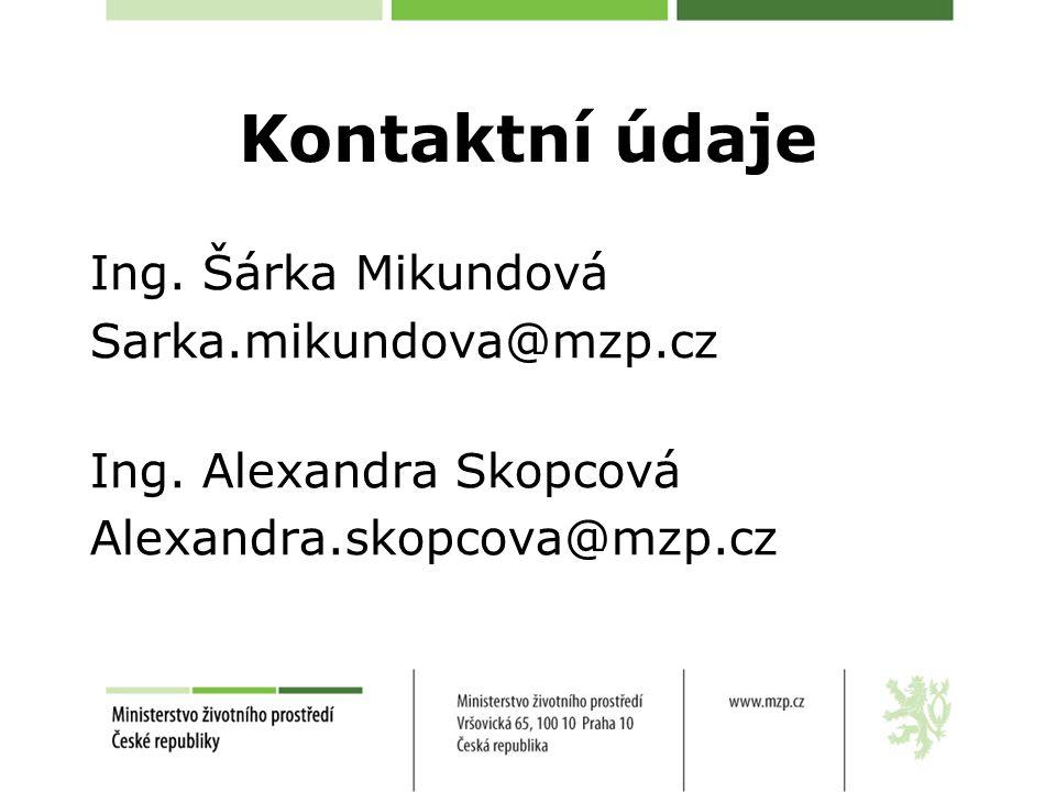 Kontaktní údaje Ing. Šárka Mikundová Sarka.mikundova@mzp.cz Ing.
