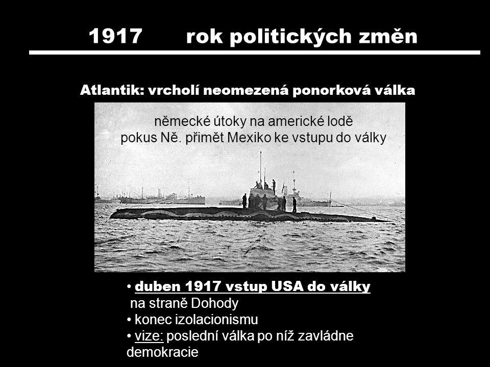 1917 rok politických změn Atlantik: vrcholí neomezená ponorková válka