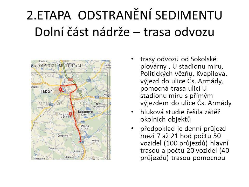 2.ETAPA ODSTRANĚNÍ SEDIMENTU Dolní část nádrže – trasa odvozu
