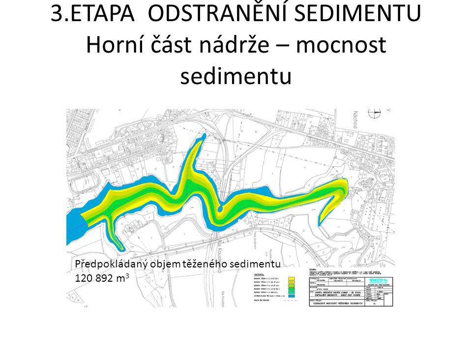 3.ETAPA ODSTRANĚNÍ SEDIMENTU Horní část nádrže – mocnost sedimentu