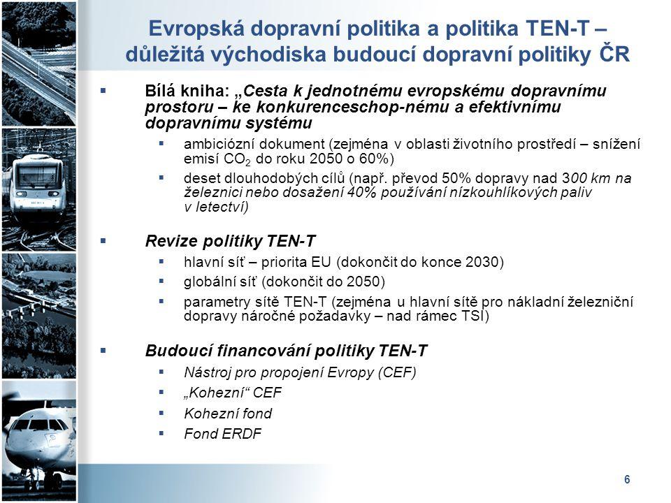 Evropská dopravní politika a politika TEN-T – důležitá východiska budoucí dopravní politiky ČR
