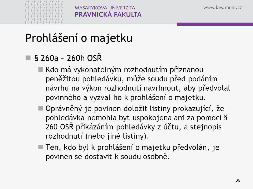 Prohlášení o majetku § 260a – 260h OSŘ