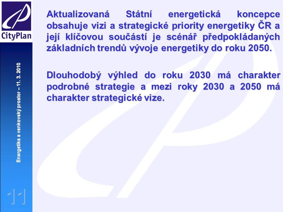 Aktualizovaná Státní energetická koncepce obsahuje vizi a strategické priority energetiky ČR a její klíčovou součástí je scénář předpokládaných základních trendů vývoje energetiky do roku 2050.