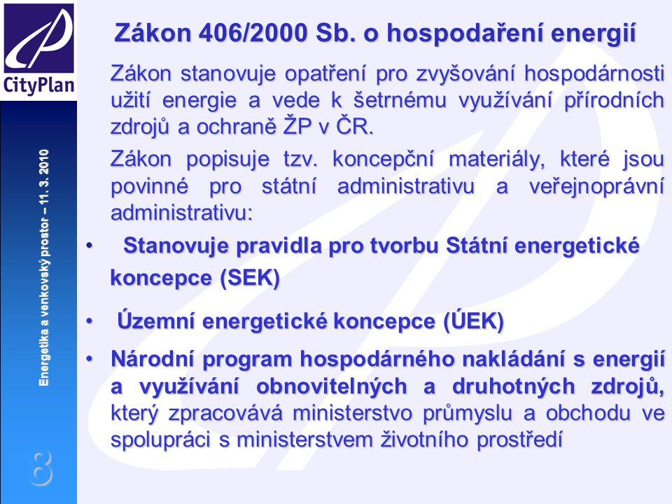 Zákon 406/2000 Sb. o hospodaření energií