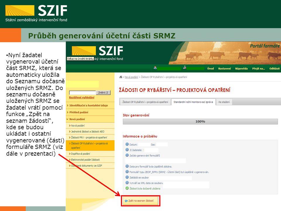 Průběh generování účetní části SRMZ