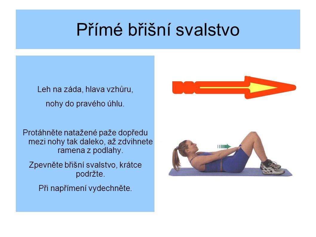 Přímé břišní svalstvo Leh na záda, hlava vzhůru, nohy do pravého úhlu.
