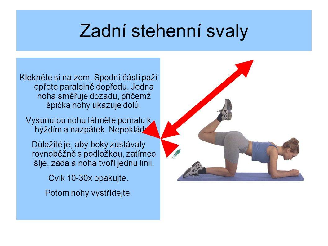 Zadní stehenní svaly Klekněte si na zem. Spodní části paží opřete paralelně dopředu. Jedna noha směřuje dozadu, přičemž špička nohy ukazuje dolů.