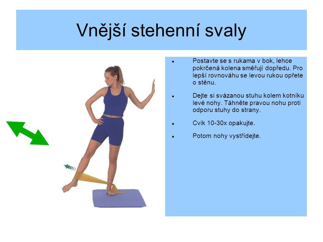Vnější stehenní svaly Postavte se s rukama v bok, lehce pokrčená kolena směřují dopředu. Pro lepší rovnováhu se levou rukou opřete o stěnu.