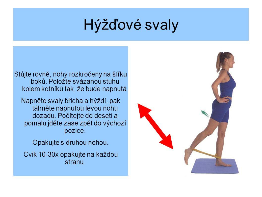 Hýžďové svaly Stůjte rovně, nohy rozkročeny na šířku boků. Položte svázanou stuhu kolem kotníků tak, že bude napnutá.