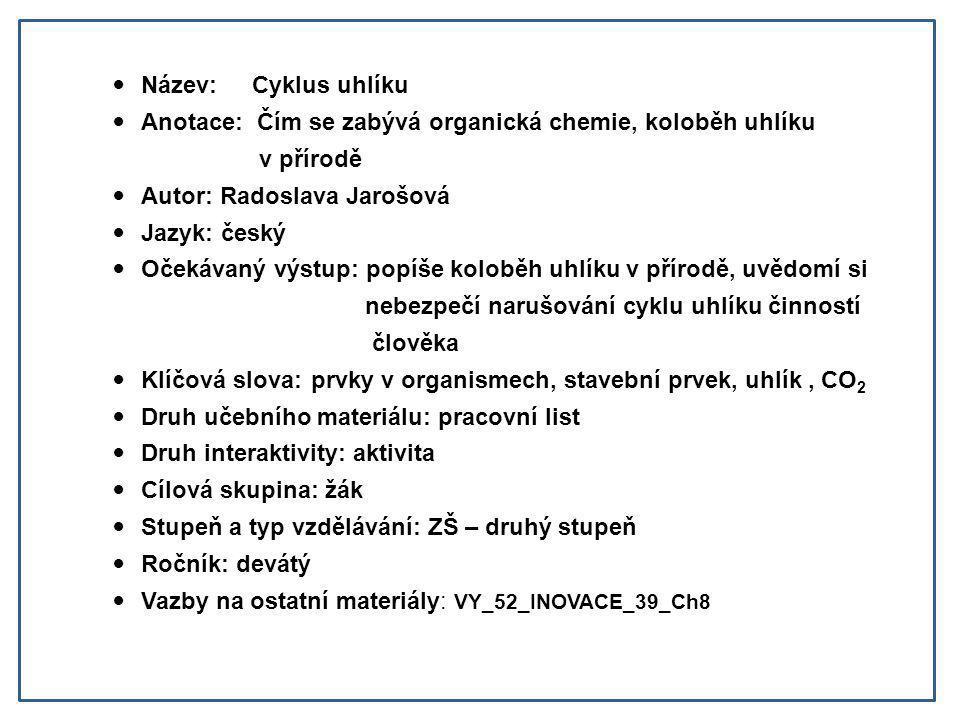Název: Cyklus uhlíku Anotace: Čím se zabývá organická chemie, koloběh uhlíku. v přírodě. Autor: Radoslava Jarošová.