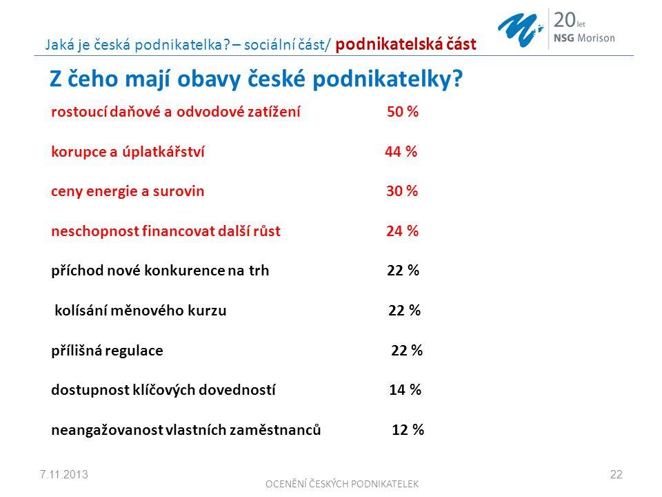 Z čeho mají obavy české podnikatelky