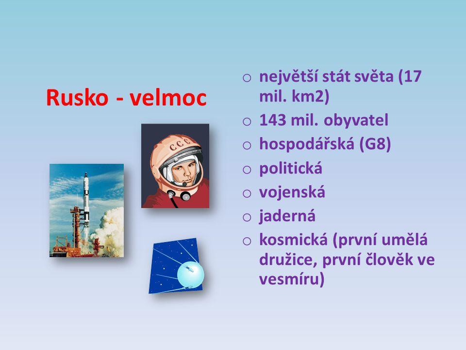 Rusko - velmoc největší stát světa (17 mil. km2) 143 mil. obyvatel