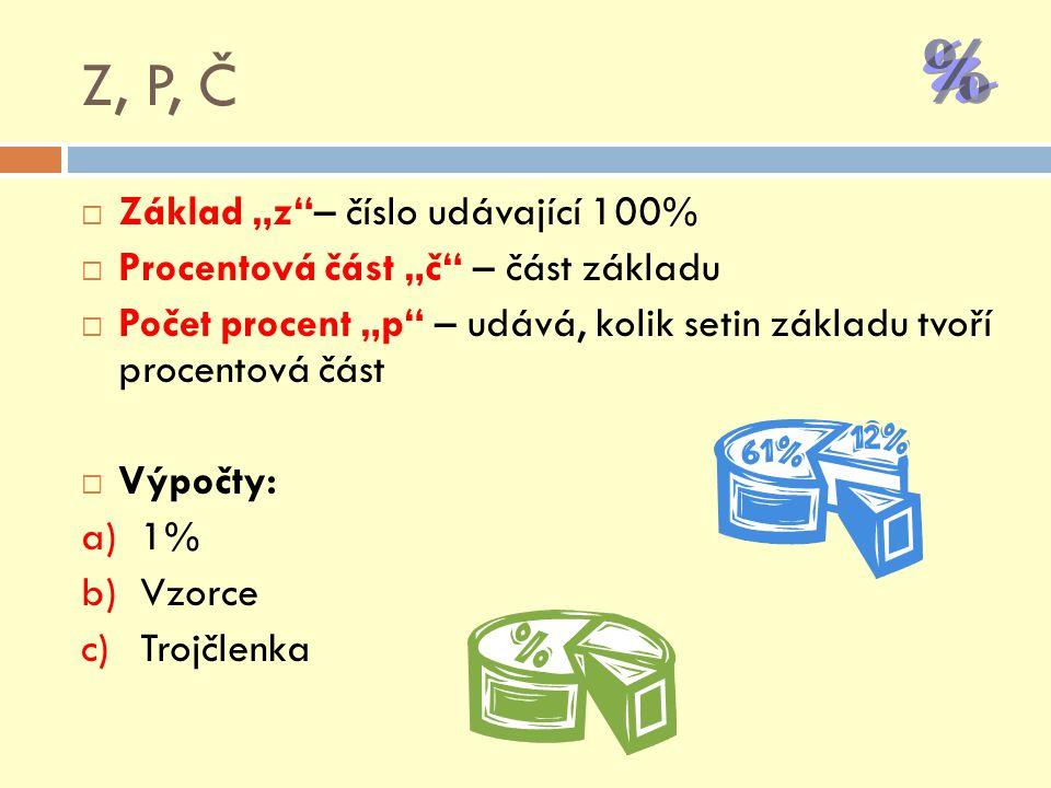 """Z, P, Č Základ """"z – číslo udávající 100%"""