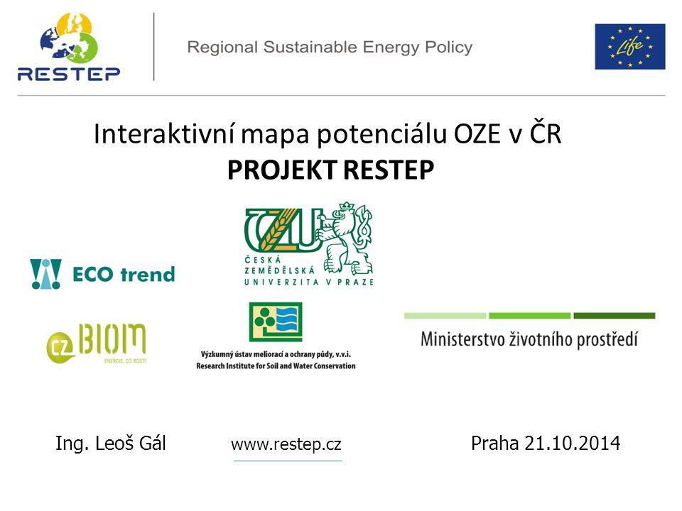 Interaktivní mapa potenciálu OZE v ČR PROJEKT RESTEP