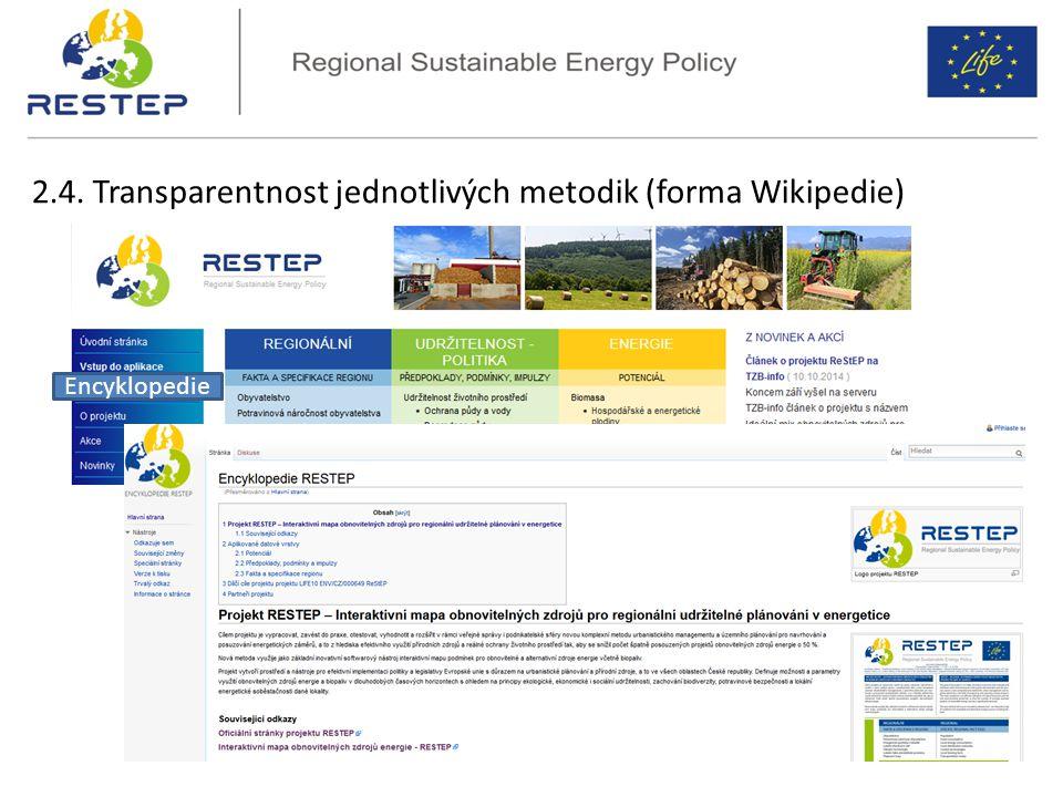 2.4. Transparentnost jednotlivých metodik (forma Wikipedie)