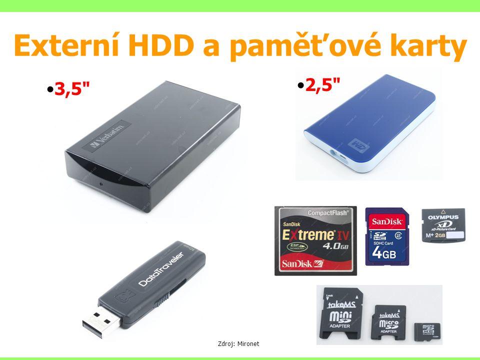 Externí HDD a paměťové karty